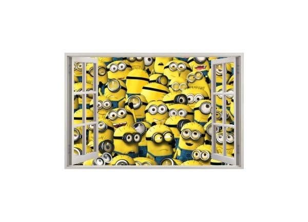 Stickers trompe l'oeil fenêtre ouverte Les Minions