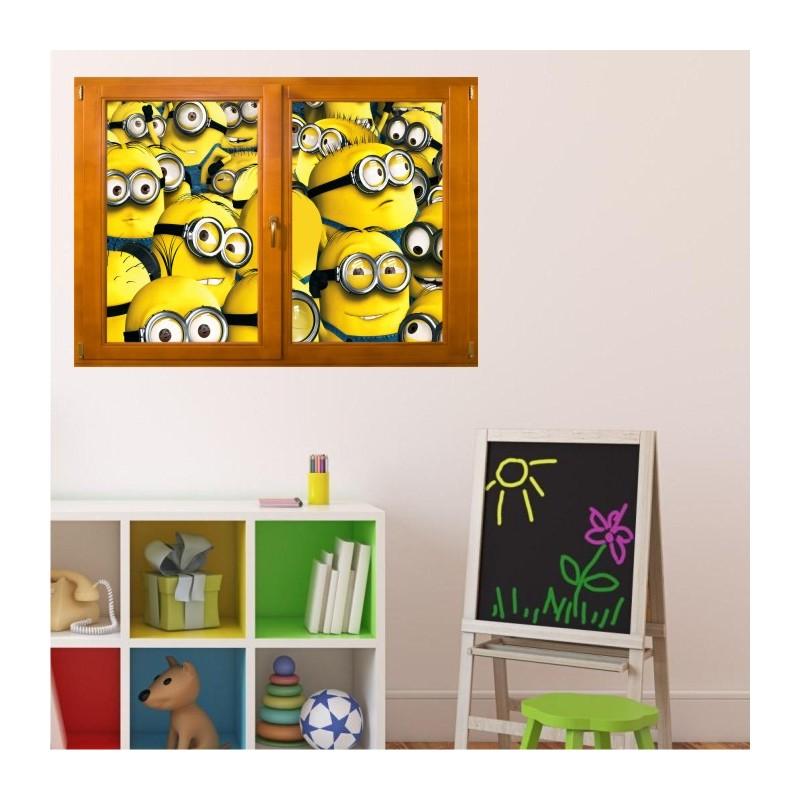 stickers trompe l 39 oeil fen tre bois les minions. Black Bedroom Furniture Sets. Home Design Ideas