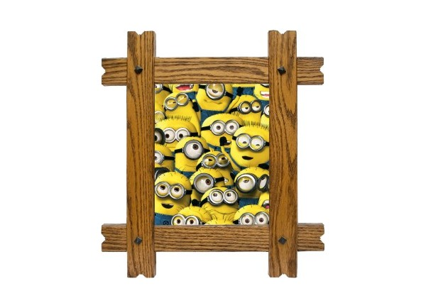 sticker trompe l 39 oeil fen tre cadre bois les minions. Black Bedroom Furniture Sets. Home Design Ideas