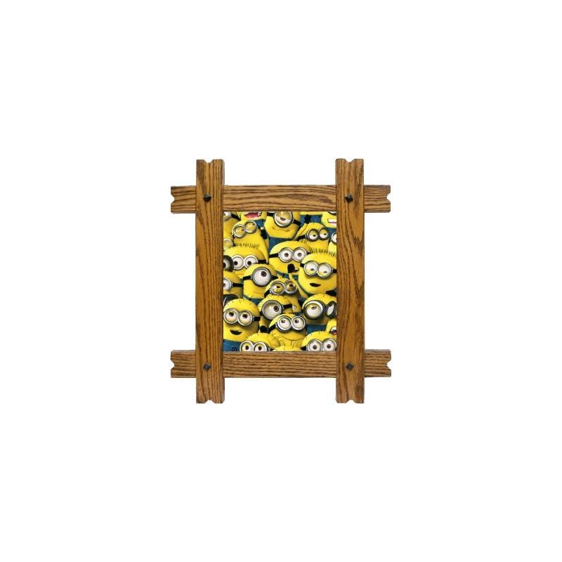 sticker trompe l 39 oeil fen tre cadre bois les minions. Black Bedroom Furniture Sets. Home Design Ideas