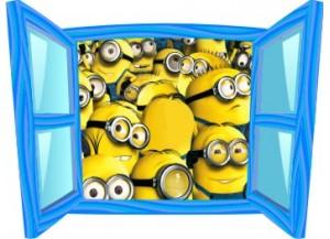 Sticker trompe l'oeil fenêtre bleue Les Minions