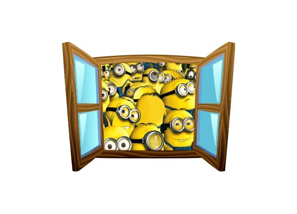 Sticker trompe l'oeil fenêtre cartoon bois Les Minions