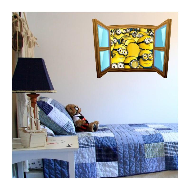 sticker trompe l 39 oeil fen tre cartoon bois les minions. Black Bedroom Furniture Sets. Home Design Ideas