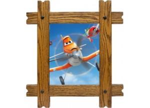 Sticker trompe l'oeil fenêtre cadre bois Planes Dusty