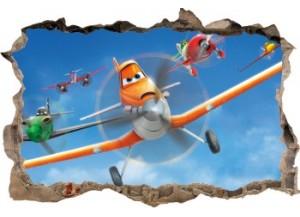 Sticker trompe l'oeil 3D mur d'agglo cassé Planes Dusty