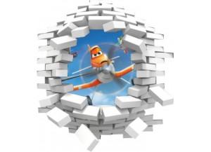 Sticker trompe l'oeil 3D mur blanc cassé Planes Dusty