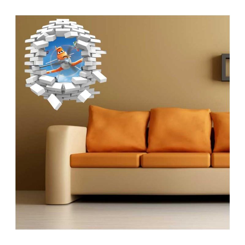 sticker trompe l 39 oeil 3d mur blanc cass planes dusty. Black Bedroom Furniture Sets. Home Design Ideas