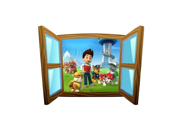 Sticker trompe l'oeil fenêtre cartoon bois Pat Patrouille