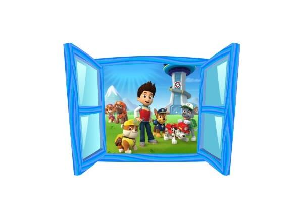 Sticker trompe l'oeil fenêtre cartoon bleue Pat Patrouille
