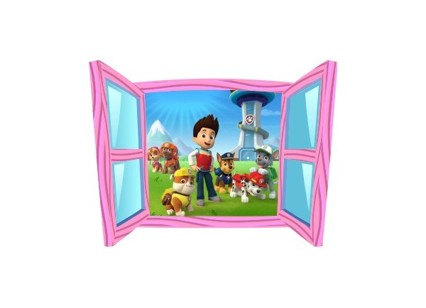 Sticker trompe l'oeil fenêtre cartoon rose Pat Patrouille