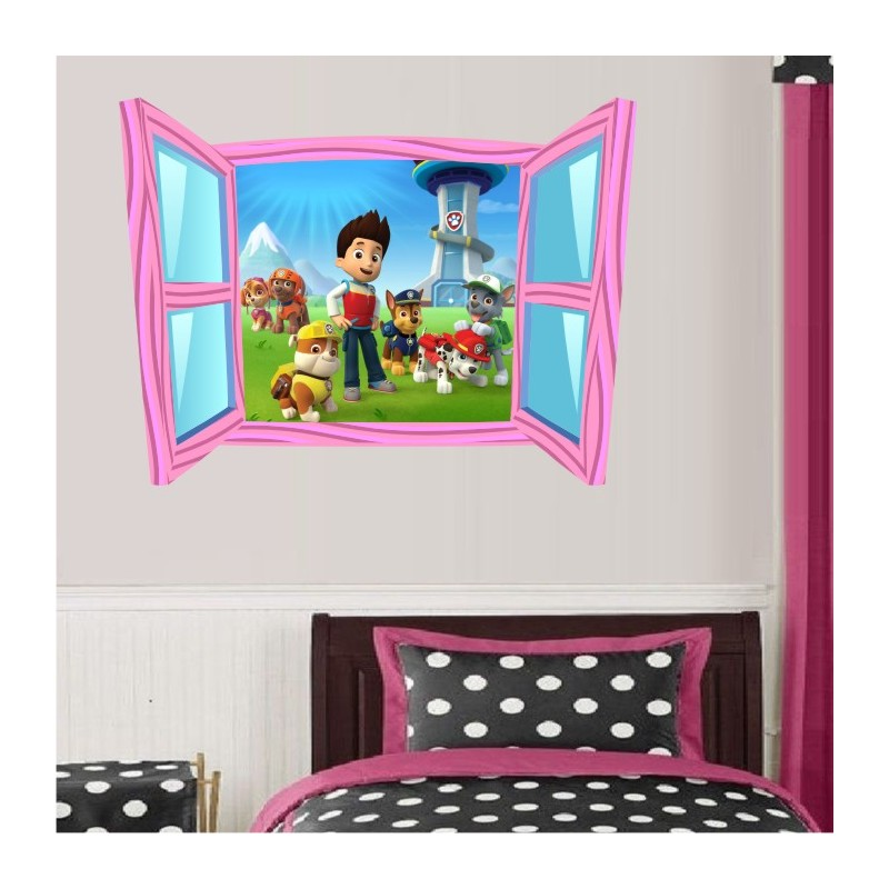 sticker trompe l 39 oeil fen tre cartoon rose pat patrouille. Black Bedroom Furniture Sets. Home Design Ideas