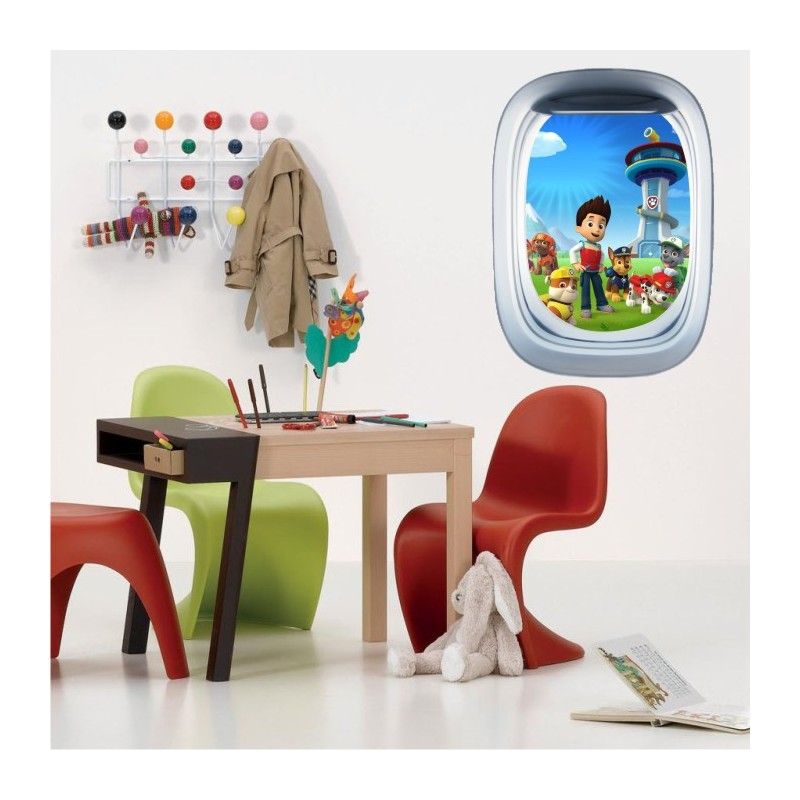 stickers trompe l 39 oeil hublot avion pat patrouille. Black Bedroom Furniture Sets. Home Design Ideas