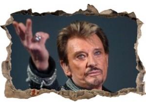 Sticker trompe l'oeil 3D mur d'agglo cassé Johnny Hallyday au revoir