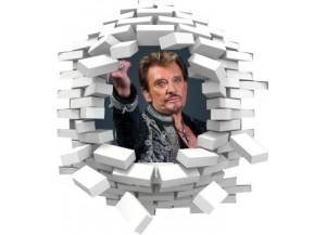 Sticker trompe l'oeil 3D mur blanc cassé Johnny Hallyday au revoir