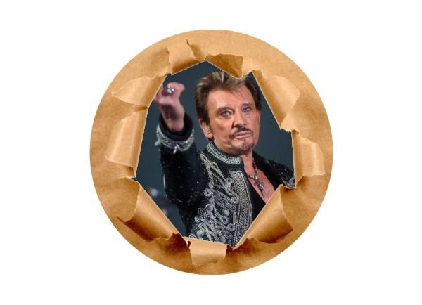 Stickers trompe l'oeil mur papier déchiré Johnny Hallyday au revoir