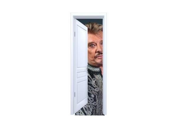 Stickers trompe l'oeil porte blanche ouverte Johnny Hallyday au revoir