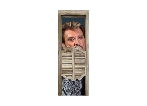 Stickers trompe l'oeil porte de saloon Johnny Hallyday au revoir