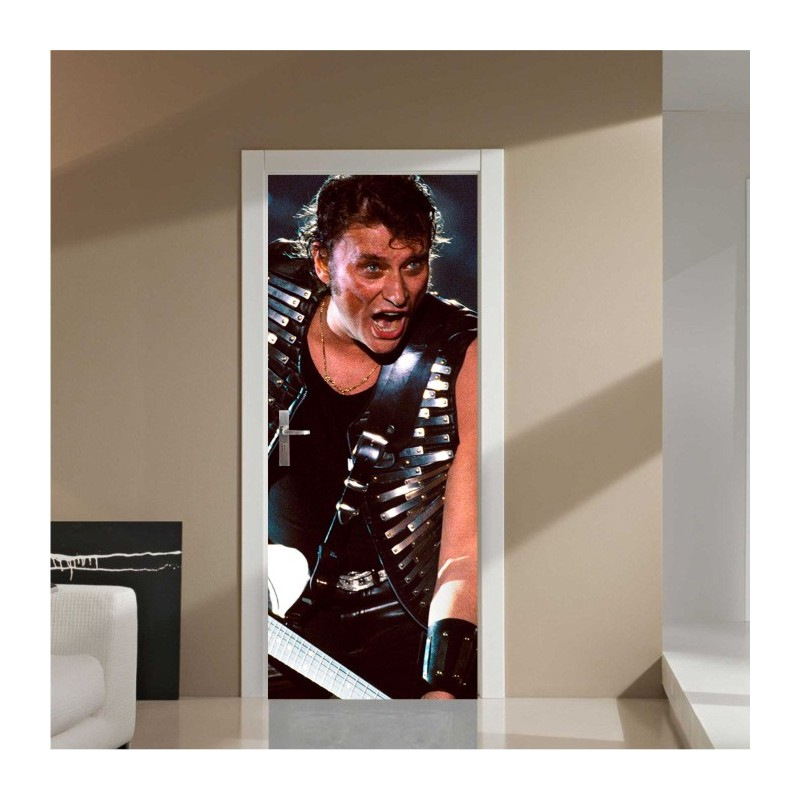 sticker pour porte johnny hallyday rock. Black Bedroom Furniture Sets. Home Design Ideas