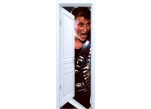 Stickers trompe l'oeil porte blanche ouverte Johnny Hallyday Rock