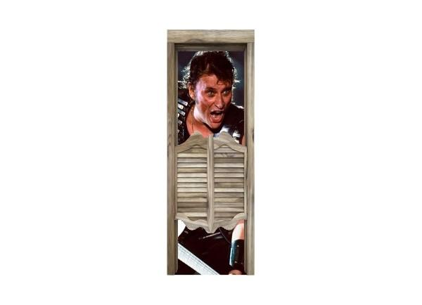 Stickers trompe l'oeil porte de saloon Johnny Hallyday Rock