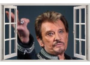 Stickers trompe l'oeil fenêtre ouverte Johnny Hallyday au revoir.