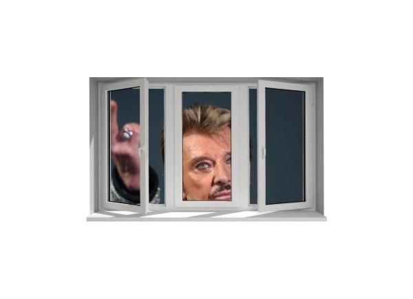 Stickers trompe l'oeil fenêtre Johnny Hallyday au revoir