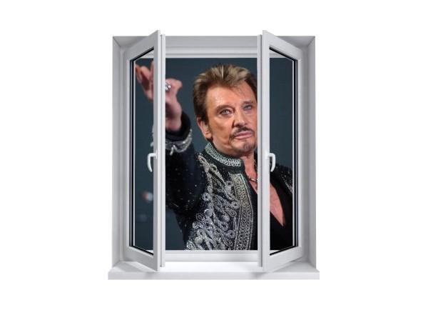 Sticker trompe l'oeil fenêtre 2 vantaux Johnny Hallyday au revoir