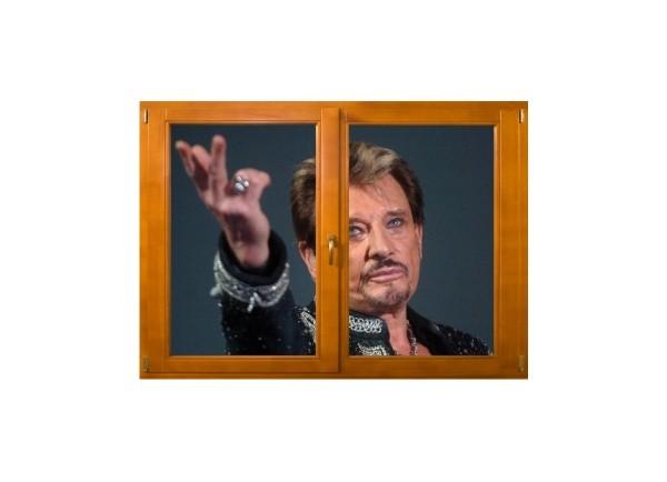 Sticker trompe l'oeil fenêtre bois Johnny Hallyday au revoir
