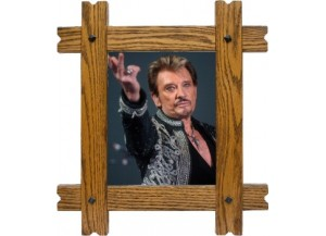 Sticker trompe l'oeil fenêtre cadre bois Johnny Hallyday au revoir