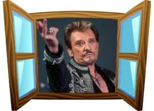 Sticker trompe l'oeil fenêtre cartoon bois Johnny Hallyday au revoir