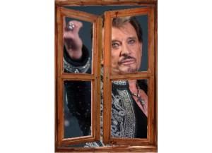 Sticker trompe l'oeil fenêtre cassée Johnny Hallyday au revoir