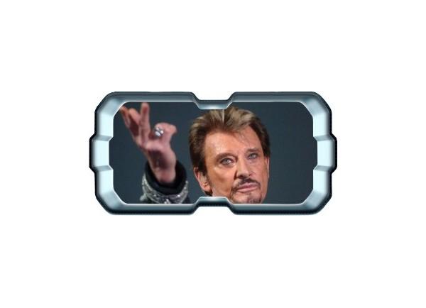 Stickers trompe l'oeil hublot 3D Johnny Hallyday au revoir.