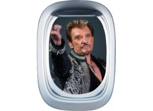 Stickers trompe l'oeil hublot avion Johnny Hallyday au revoir