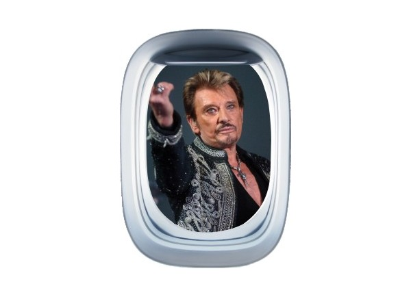 Stickers trompe l'oeil hublot avion Johnny Hallyday au revoir