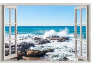Stickers trompe l'oeil fenêtre ouverte rocher mer Bretagne