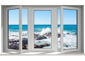 Stickers trompe l'oeil fenêtre rocher mer de Bretagne
