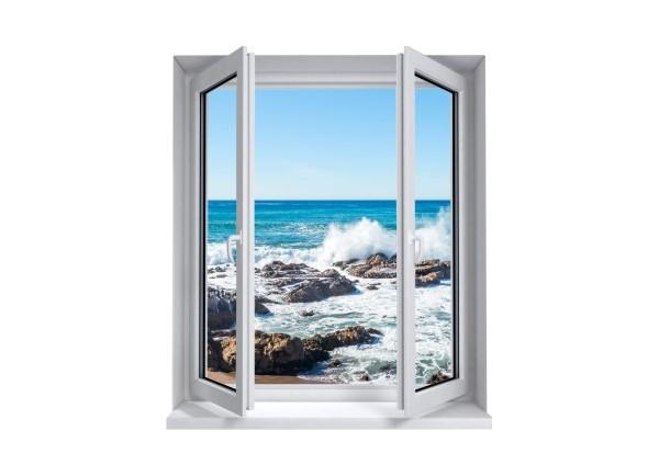 Sticker trompe l'oeil fenêtre 2 vantaux rocher mer de Bretagne