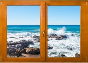 Sticker trompe l'oeil fenêtre bois rocher mer de Bretagne