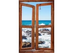 Sticker trompe l'oeil fenêtre cassée rocher mer de Bretagne