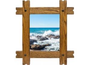 Sticker trompe l'oeil fenêtre cadre bois rocher mer de Bretagne