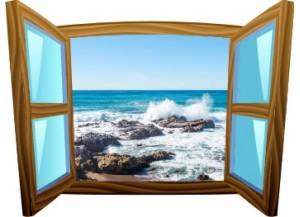 Sticker trompe l'oeil fenêtre cartoon bois rocher mer de Bretagne