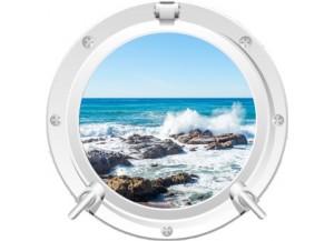 Stickers trompe l'oeil hublot blanc rocher mer de Bretagne