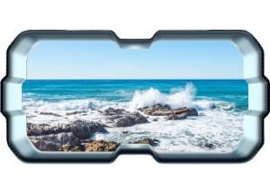 Stickers trompe l'oeil hublot 3D rocher mer de Bretagne