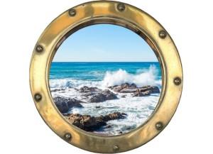 Stickers trompe l'oeil hublot doré rocher mer de Bretagne