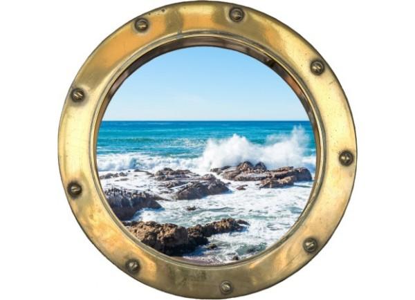 Stickers trompe l'oeil hublot argent rocher mer de Bretagne