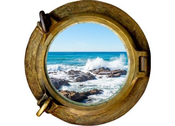 Stickers trompe l'oeil hublot bronze rocher mer de Bretagne