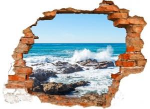Sticker trompe l'oeil 3D mur déchiré rocher mer de Bretagne