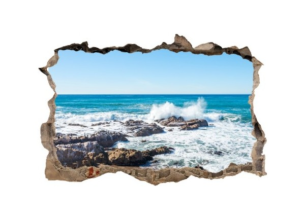Sticker trompe l'oeil 3D mur d'agglo cassé rocher mer de Bretagne