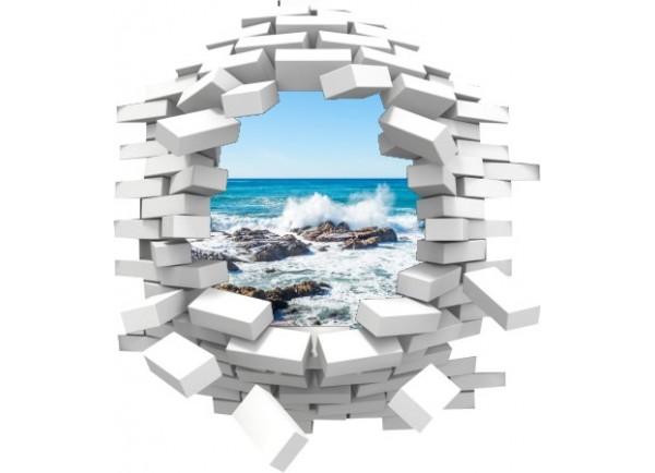Sticker trompe l'oeil 3D mur blanc cassé rocher mer de Bretagne