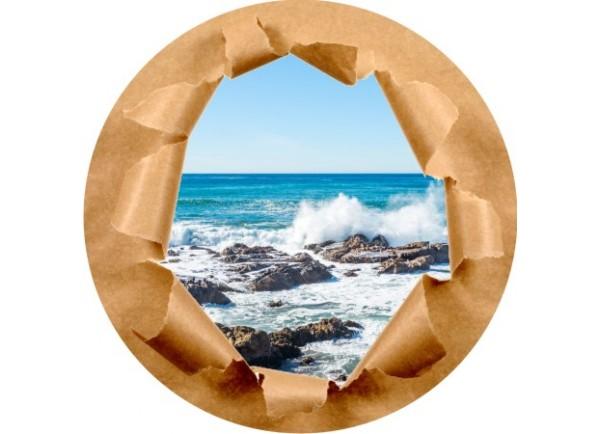Stickers trompe l'oeil mur papier déchiré rocher mer de Bretagne